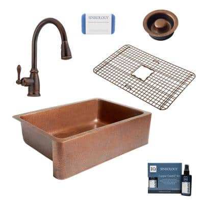 Adams All-in-One Farmhouse Copper 33 in. Single Bowl Kitchen Sink with Pfister Rustic Bronze Faucet and Disposal Drain