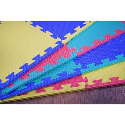 Multicolor 12 in. x 12 in. Exercise Children's Interlocking Puzzle EVA Play Foam Floor Mat (16 sq. ft.) (54-Borders)
