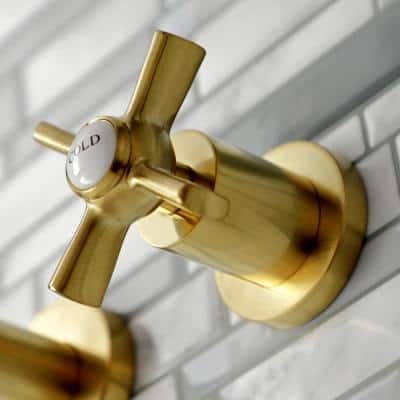 Millennium 2-Handle Wall Mount Bathroom Faucet in Brushed Brass