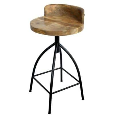 28.5 in. H Brown and Black Industrial Style Adjustable Swivel Counter Height Stool with Backrest