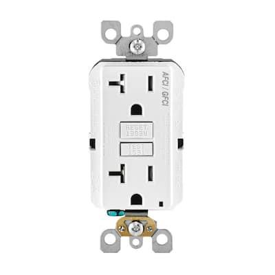 20 Amp 125-Volt Duplex SmartlockPro Tamper Resistant AFCI/GFCI Dual Function Outlet, White