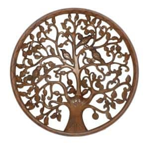 Antique Brown Circular Mango Wood Wall Panel with Cutout Tree and Bird Carvings