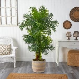 6 ft. Green Hawaii Artificial Palm Tree in Handmade Natural Cotton Multicolored Woven Planter
