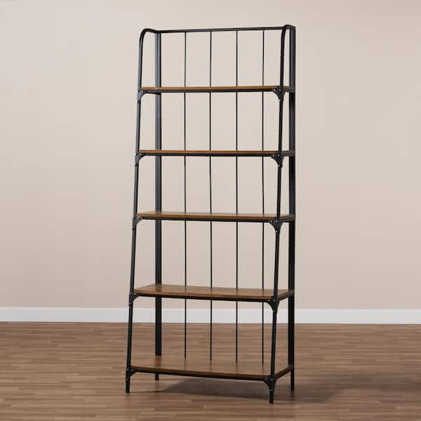 Baxton Studio Ceren Brown And Black Ladder Bookshelf 163 9873 Hd The Home Depot