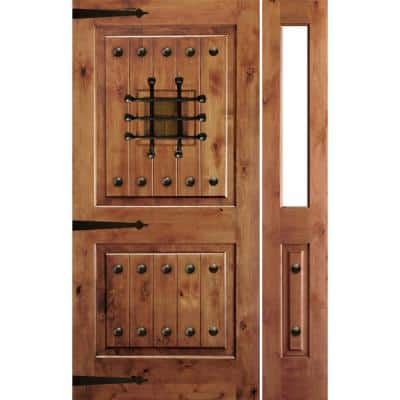 44 in. x 80 in. Mediterranean Alder Sq Clear Low-E Unfinished Wood Left-Hand Prehung Front Door with Right Half Sidelite