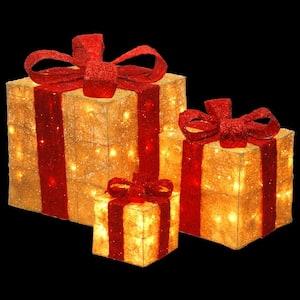 Pre-Lit Gold Sisal Gift Box Assortment