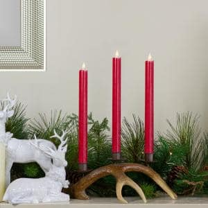 12 in. Red Flameless Taper Christmas Candles (Set of 2)