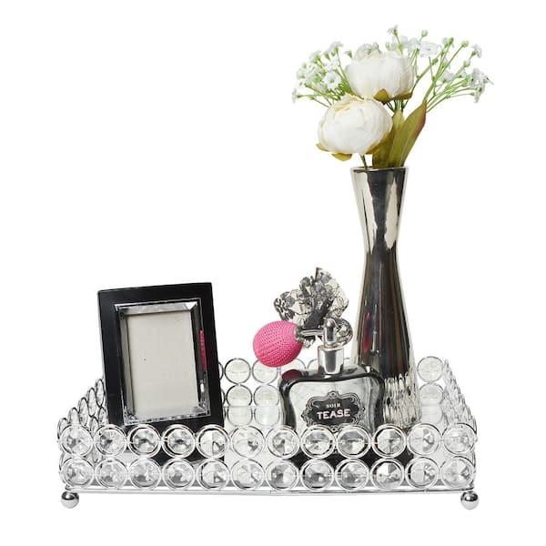 Elegant Designs 10 5 In Chrome Elipse, Silver Mirror Tray Decor