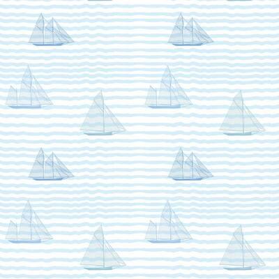 Sailboats Vinyl Peelable Wallpaper (Covers 36 sq. ft.)