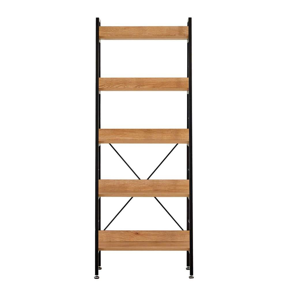 Andmakers Allday 63 In Acacia Wood 5 Shelf Standard Bookcase With Metal Frame Qr 013w06 Ld5t The Home Depot