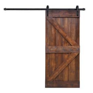 36 in x 84 in K Series DIY Dark Walnut Finished Knotty Pine Wood Sliding Barn Door Slab with Hardware Kit