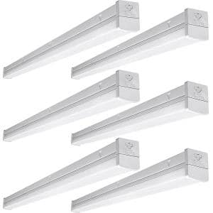 4 ft. 100-Watt Equivalent Integrated LED White Strip Light Fixture 5000K Linkable High Output 5000 Lumens (6-Pack)