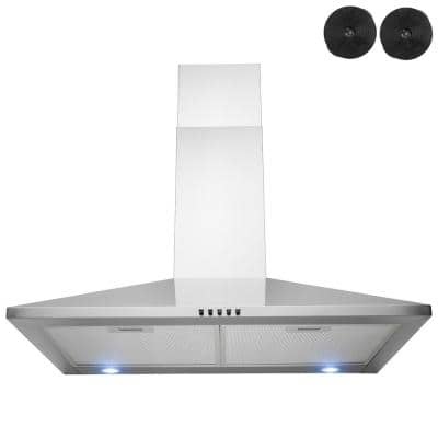 Golden Vantage 30 In 217 Cfm Convertible Kitchen Wall Mount Range Hood In Stainless Steel With Push Control Leds And Carbon Filters Rh0411 The Home Depot