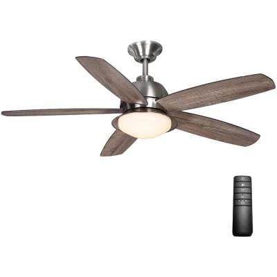 Ackerly 52 in. Indoor/Outdoor Integrated LED Brushed Nickel Damp Rated Ceiling Fan with Light Kit and Remote Control