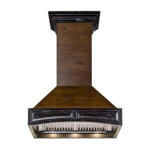 ZLINE 42 in. Wooden Wall Mount Range Hood in Antigua and Walnut - Includes Remote Motor