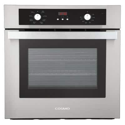 24 in. 2.5 cu. ft. Single Electric Wall Oven with 8 Functions and True European Convection in Stainless Steel