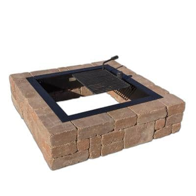 Victorian 48 in. x 12 in. Square Concrete Wood Burning Desert Fire Pit Kit with Cooking Grate