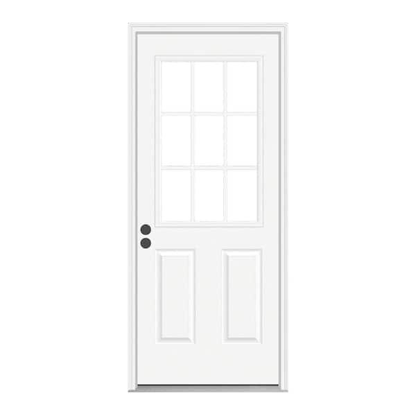 Jeld Wen 32 In X 80 In 9 Lite Primed Fiberglass Prehung Back Door With Brickmould Thdqc231100088 The Home Depot