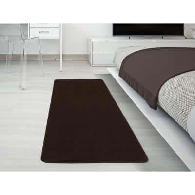 Softy Collection Modern Brown Shag 2 ft. x 6 ft. Runner Rug