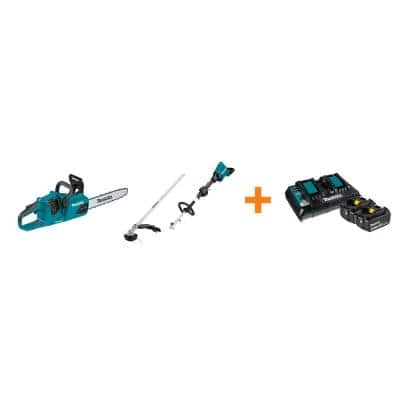 18V X2 LXT Brushless Electric 14 in. Chain Saw and 18V X2 LXT Couple Shaft Power Head with bonus 18V LXT Starter Pack