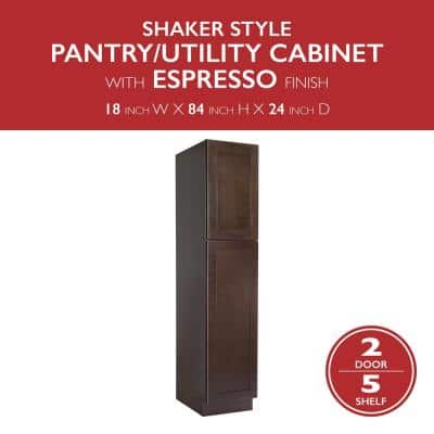Brookings Plywood Ready to Assemble Shaker 18x84x24 in. 2-Door Pantry/Utility Kitchen Cabinet in Espresso