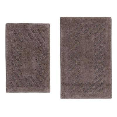Stone 21 in. x 34 in. and 24 in. x 40 in. Diagonal Racetrack Reversible Bath Rug Set (2-Piece)