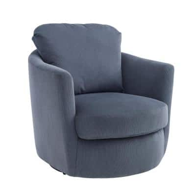 Ivina Stone Blue Corduroy Swivel Barrel Chair