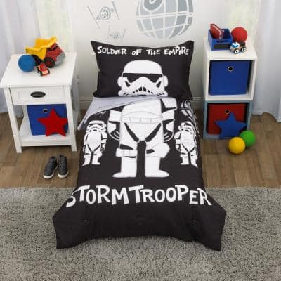 Storm Trooper Black and White 4-Piece ToddlerBedSet Comforter Fitted Bottom and Flat Top Sheet and Reversible Pillowcase