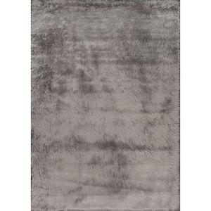 Cloud Faux Sheepskin Plush Shag Gray 3 ft. x 5 ft.  Area Rug