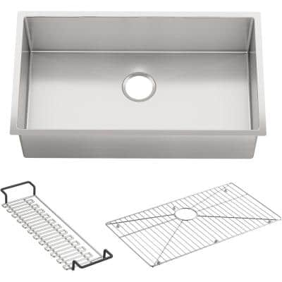 Strive Undermount Stainless Steel 32 in. Single Bowl Kitchen Sink with Included Accessories