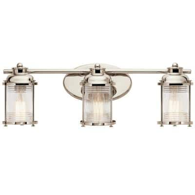 Ashland Bay 3-Light Polished Nickel Vanity Light with Clear Seeded Glass