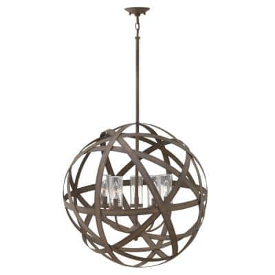 Carson 5 Light Vintage Iron LED Outdoor Hanging Chandelier