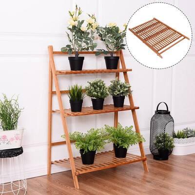 27.6 in. L x 15.7 in. W x 38.2 in. H Shelves Indoor/Outdoor Beige Wood Plant Stand (3-Tier)
