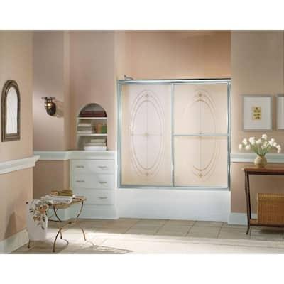 Deluxe 59-3/8 in. x 56-1/4 in. Framed Sliding Bathtub Door in Silver with Handle