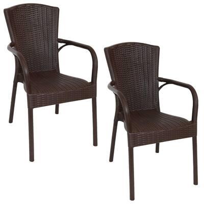 Segesta Wenge Plastic Indoor Patio Outdoor Armchair (Set of 2)