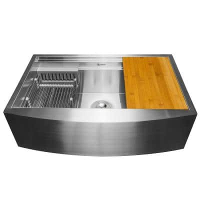 Handcrafted All-in-One Apron Mount 33 in. x 20 in. x 9 in. Single Bowl Kitchen Sink in Stainless Steel with Accessories
