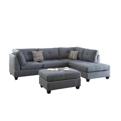 3-Piece Gray Polyester 4-Seater L Shape Left Facing Sectionals Sofa Set