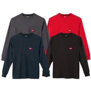 Men's Medium Multi-Color Heavy-Duty Cotton/Polyester Long-Sleeve Pocket T-Shirt (4-Pack)
