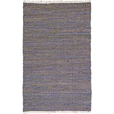 Purple Leather & Hemp 5 ft. x 8 ft. Area Rug