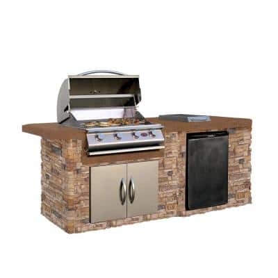 7 ft. Stone Veneer Grill Island with Tile Top and 4-Burner Gas Grill in Stainless Steel