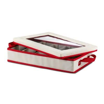 8 Qt. Ivory and Red Non-Woven Dinnerware Cutlery Storage Box, 5 Sections with Lid and Window