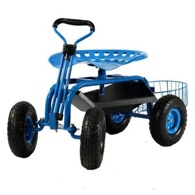 Blue Steel Rolling Garden Cart with Steering Handle, Seat and Tray
