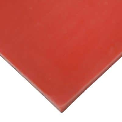 Silicone 1/4 in. x 8 in. x 8 in. Red/Orange Commercial Grade 60A Rubber Sheet