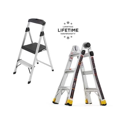 14 ft. Reach MPXA Multi-Position Ladder/2-Step Aluminum Step Stool (Combo-Pack)