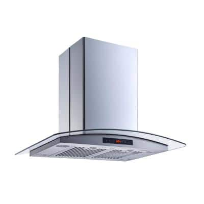 30 in. 520 CFM Convertible Island Range Hood in Stainless Steel and Glass w/ Baffle and Charcoal Filters, Touch Control