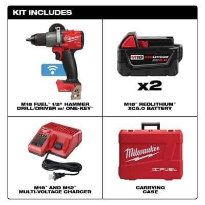 M18 FUEL ONE-KEY 18-Volt Lithium-Ion Brushless Cordless 1/2 in. Hammer Drill/Driver Kit with Two 5.0 Ah Batteries