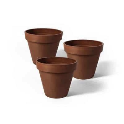 Valencia 4 in. Round TerraCotta Banded Plastic Planter (3-Pack)