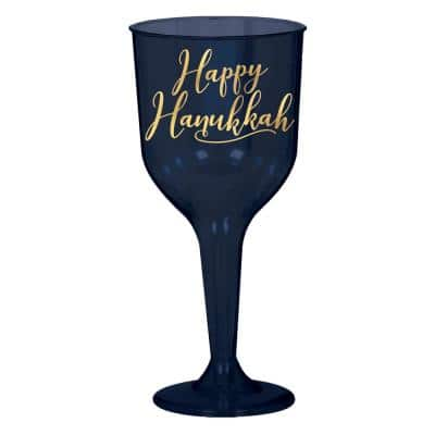 7.5 in. x 3 in. x 10 oz. Blue Plastic Hanukkah Wine Glass (2-Pack)