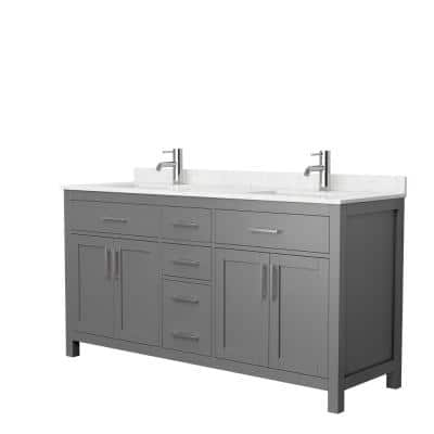 Beckett 66 in. W x 22 in. D Double Vanity in Dark Gray with Cultured Marble Vanity Top in Carrara with White Basins