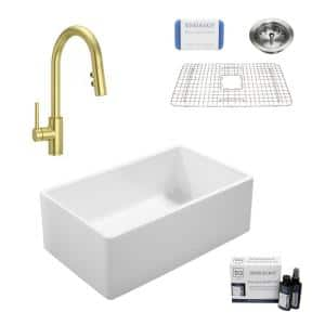 Ward All-in-One Fireclay 33 in. Single Bowl Farmhouse Kitchen Sink with Pfister Stellen Faucet in Satin Gold